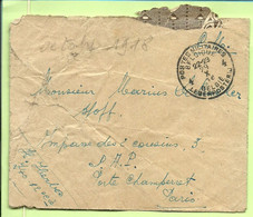 "Brief Stempel PMB 29/10/18 Naar Paris, Verso Tekst "" DeBacker -Décédé Le 14/Octo à Hopital Albert 1°... (3583 - Esercito Belga"