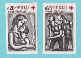 1961, YT No. 1323/1324, Imperf, Red Cross, Rouault, MNH - Ongetand