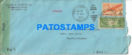 166770 US NEW YORK COVER CANCEL YEAR 1944 CENSORED CIRCULATED TO COLOMBIA NO POSTAL POSTCARD - Unclassified