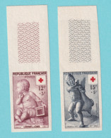 1955, YT No. 1048/1049, Imperf, Red Cross, Pigalle, MNH - Ongetand