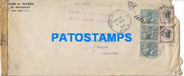 166772 US NEW YORK COVER CANCEL YEAR 1944 CENSORED CIRCULATED TO COLOMBIA NO POSTAL POSTCARD - Unclassified