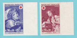 1971, YT No. 1700/1701, Imperf, Red Cross, Greuxe, MNH - Ongetand