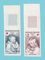 1965, YT No. 1466/1467, Imperf, Red Cross, Renoir, MNH - Ongetand
