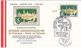 """FDC 1986 - Mi 1847 (3) , Steiermärkische Landesausstellung  """" Brücke Und Bollwerk """" , SST 8222 St Johann - FDC"""