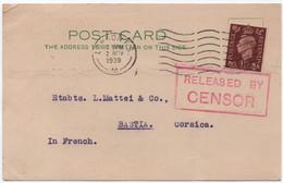 Carte Postale LONDRES Angleterre > BASTIA 1939 Etablissements MATTEI (commande Cédrats De Corse) + CENSOR - Guerre De 1939-45