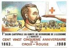 1ER SALON CARTOPHILE DU COMITE DE SECOURISME DE LILLEBONNE ...HONNEUR AU 125E ANNI DE LA CROIX ROUGE..SIGNE M. LE BRIS - Bourses & Salons De Collections