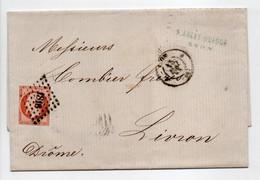 - Lettre LYON Pour LIVRON (Drôme) 15 MAI 1858 - 40 C. Orange Type Napoléon III Oblitéré Losange PC 1818 - - 1849-1876: Période Classique