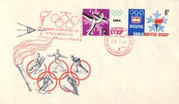 Soviet FDC  1964 Innsbruck Olympic Games   Imperforated (DD25-29) - Hiver 1964: Innsbruck