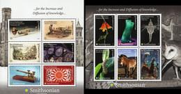 Tonga 2021, Smithsonian Museum, Trumpet, Stem Train, Telegraph, Plane, Flower, Mineral, Bug, Horse, Space, Owl, 6val - Treni