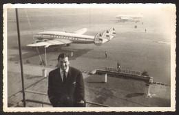 BEOGRAD Airport Lockheed L-049 Constellation Airplane Old Photo 14x9 Cm #33451 - Luftfahrt