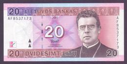 Litauen, 20 Litu 2001, Sehr Selten, Unc. - Lithuania