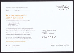 Netherlands: Official Postcard, 2021, Postal Form Taxed Parcel Arrived At Post Office, Import Tax To Pay (minor Crease) - Covers & Documents