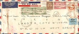 Lettre Des Etats-Unis, 1940, To Ivory Coast By Air Mail, Cachet Contrôle AOF + West Palm Beach, Florida, Vignette, US - Covers & Documents
