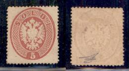 Antichi Stati Italiani - Lombardo Veneto - 1863 - 5 Soldi (38) Con Parte Di Gomma Originale - Cert Diena (13000) - Non Classificati