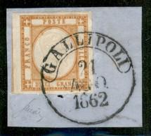 Antichi Stati Italiani - Napoli - 1861 - 10 Grana (22) Usato Su Frammento A Gallipoli Il 21.8.62 - Non Classificati