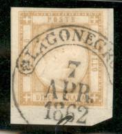 Antichi Stati Italiani - Napoli - 1861 - 10 Grana Giallo Ocra (22a) Usato A Lagonegro (P.ti 6) Il 7.4.62 Su Frammento - Non Classificati