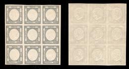 Antichi Stati Italiani - Napoli - 1861 - 50 Grana (24d - Ardesia Oltremare) - Blocco Di 9 - Gomma Integra - Cert. AG - Non Classificati