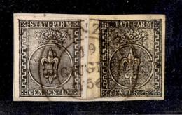 Antichi Stati Italiani - Parma - 1852 - 10 Cent (2) + 5 Cent (1b - Bordo Foglio) Usati A Fiorenzuola 19.6.56 Su Framment - Non Classificati