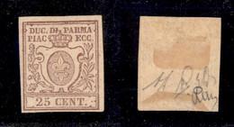 Antichi Stati Italiani - Parma - 1857 - 25 Cent (10) Gomma Originale - Diena (1.500) - Non Classificati