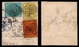 Antichi Stati Italiani - Stato Pontificio - Tricolore - 5 Cent Azzurro (25) + 10 Cent Vermiglio (26) + 40 Cent Giallo (2 - Non Classificati