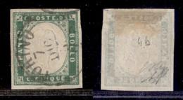 Antichi Stati Italiani - Sardegna - 1855 - 5 Cent (13c - Verde Pisello) Usato A Torino - Diena + Oliva + Cert. AG (4.000 - Non Classificati