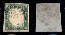 Antichi Stati Italiani - Sardegna - 1855 - 5 Cent (13d - Verde Smeraldo) Usato A Chambery Su Frammento - Cert. AG (950) - Non Classificati