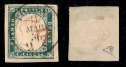 Antichi Stati Italiani - Sardegna - 1855 - 5 Cent (13f) Usato A Torino (PD In Rosso) - Diena (1.200) - Non Classificati