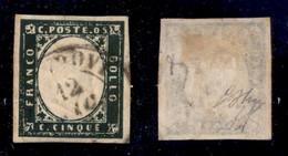 Antichi Stati Italiani - Sardegna - 1857 - 5 Cent (13Ab - Verde Mirto Scuro) Usato - Oliva + Diena + Cert. AG (1.400) - Non Classificati