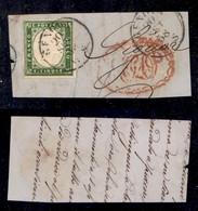 Antichi Stati Italiani - Sardegna - 1858 - Stampa Difettosa - 5 Cent (13Ah - Verde Giallo) Usato A Genova Il 20.9.58 Su  - Non Classificati