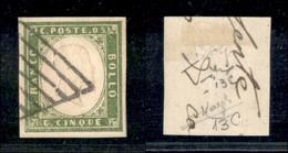 Antichi Stati Italiani - Sardegna - 1861 - 5 Cent (13C) Usato Su Frammento - Fiecchi + Raybaudi - Non Classificati