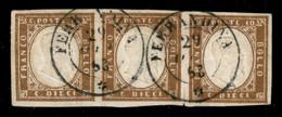Antichi Stati Italiani - Sardegna - 1863 - 10 Cent Bistro Scuro (13Eb) - Striscia Orizzontale Di 3 Usata A Ferrandina (P - Non Classificati