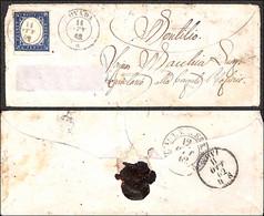 Antichi Stati Italiani - Sardegna - 20 Cent (15Dd - Cobalto Grigio) - Bustina Da Ovada A Montilio Del 11.10.62 - Cert. A - Non Classificati