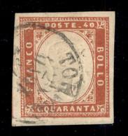 Antichi Stati Italiani - Sardegna - 1866 - 40 Cent Vermiglio Scuro (16b) Usato A Torino 29.3.57 - Grandi Margini - Savar - Non Classificati