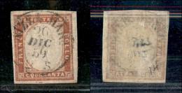 Antichi Stati Italiani - Sardegna - 1859 - 40 Cent (16Ba - Rosso Mattone) Usato A Nizza Il 26.12.59 - Non Classificati