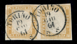Antichi Stati Italiani - Sardegna - 1861 - 80 Cent Giallo Arancio (17C) - Coppia Orizzontale Usata A Torino 19.6.61 - Ot - Non Classificati