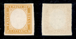 Antichi Stati Italiani - Sardegna - 1862 - Senza Effigie - 80 Cent (17Da) - Gomma Integra - Non Classificati