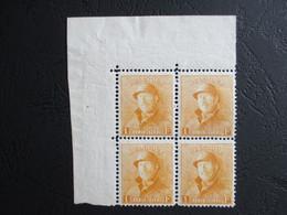 Nr 175 - Helm - Blok Van Vier Met Hoekbladboord - MNH** - Kwot 480 à 10% - 1919-1920 Trench Helmet