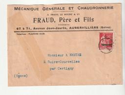 """Lettre Réparée Entreprise Mécanique,Fraud/ Aubervilliers+Oblitération """"A"""" Sur Type Paix+cachet Tireté Dos""""Cartigny/Somme - Covers & Documents"""