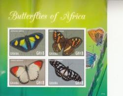 2017 Ghana Butterflies Of Africa Papillons  Complete Set Of 2 Souvenir Sheet  MNH  @ BELOW Face Value - Ghana (1957-...)