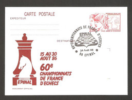 France 1986 Epinal - Chess Cancel On Commemorative Card - Chess