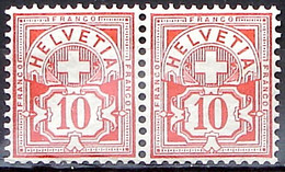 Schweiz Suisse HELVETIA 1906: Ziffer 10 C. Mit WZ I Zu 83 Mi 85 Yv 103 Im Paar Postfrisch En Paire ** MNH (Zu CHF 28.00) - Nuovi