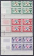 Cambodge N° 161 / 63 XX Centenaire U. I. T. , Les 3 Vals En Bloc De 4 Coin Daté Des 3 Et 4. 12 . 64 ; Sans Cha., TB - Cambodja