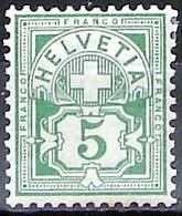 Schweiz Suisse HELVETIA 1906: Ziffer (5 C) Mit WZ I Zu 82 Mi 84 Yv 102 * Falzspur Trace De Charnière MLH (Zu CHF 7.00) - Nuovi