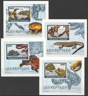 AA917 IMPERFORATE 2010 TOGO TOGOLAISE FAUNA LES REPTILES 4 LUX BL MNH - Frösche