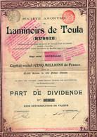 10 Actions De Part De Dividende - Laminoirs De Toula - Russie - 1899. - Industrial