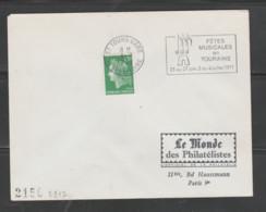 Flamme Dpt 37 : TOURS Gare (SCOTEM N°  2912 Du 21/06 => 04/07/1971) : Fêtes Musicales Touraine 25 Juin - 4 Juillet 1971 - Mechanical Postmarks (Advertisement)