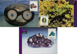 Brazil 1998 Complete Series 3 Maximum CardBrazilian Gemstone Gem Alexandrite Chrysoberyl And Indicolite - Other