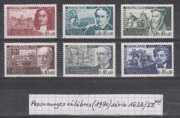 France Personnages Célèbres (1970) Y/T Série 1623/1628 Neufs ** - Neufs