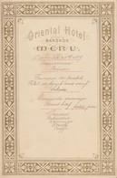 Menu : Oriental Hotel à Bangkok En 1887 (trace Papier Au Dos)    /// Ref . Aout 20 - Menus