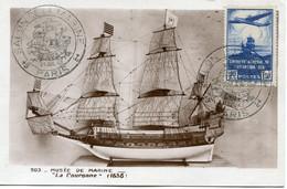 """FRANCE CARTE POSTALE """" LA COURONNE """" AFFRANCHIE AVEC LE N°320 AVEC OBL ILL SALON DE LA MARINE PARIS 31 JUIL 43 - Barche"""